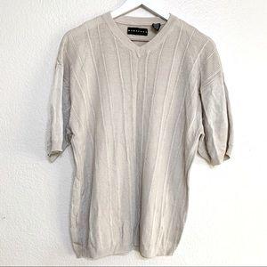 Vintage Baracuta V Neck Beige Knit Sweater Shirt